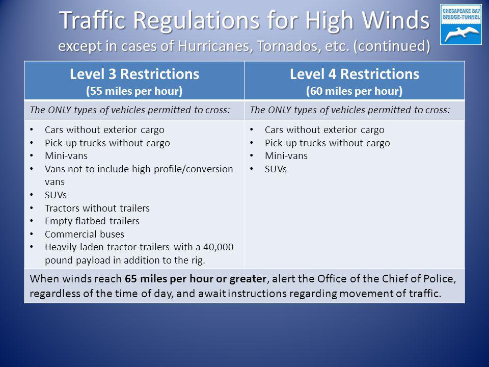 Traffic Regulations for High Winds except in cases of Hurricanes, Tornados, etc. (continued) Level 3 Restrictions (55 miles per hour) Level 4 Restrict