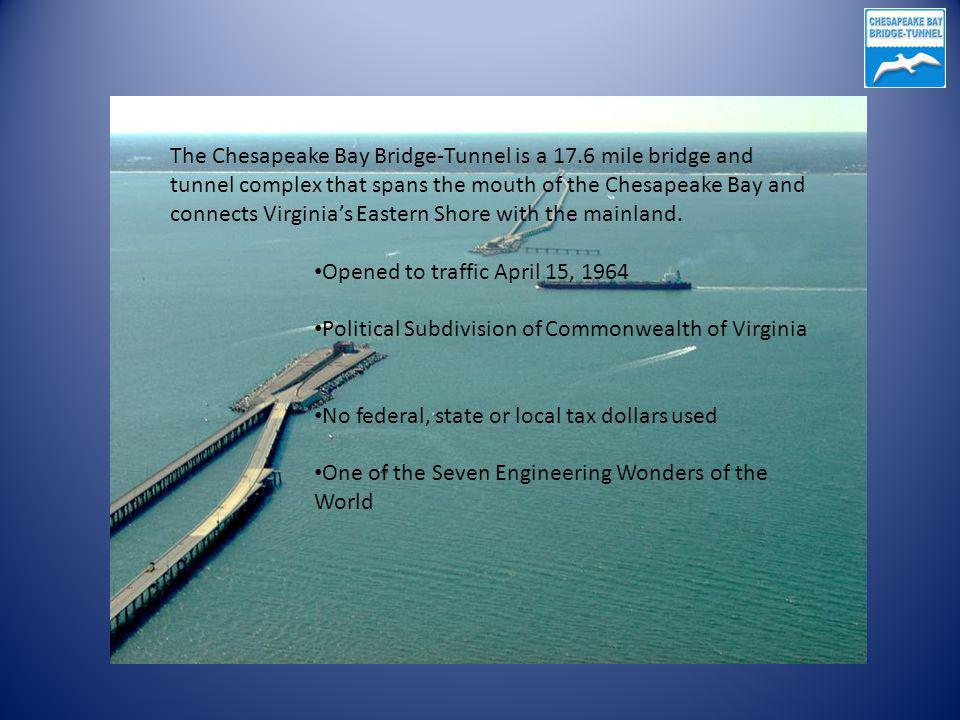 The Chesapeake Bay Bridge-Tunnel is a 17.6 mile bridge and tunnel complex that spans the mouth of the Chesapeake Bay and connects Virginias Eastern Shore with the mainland.