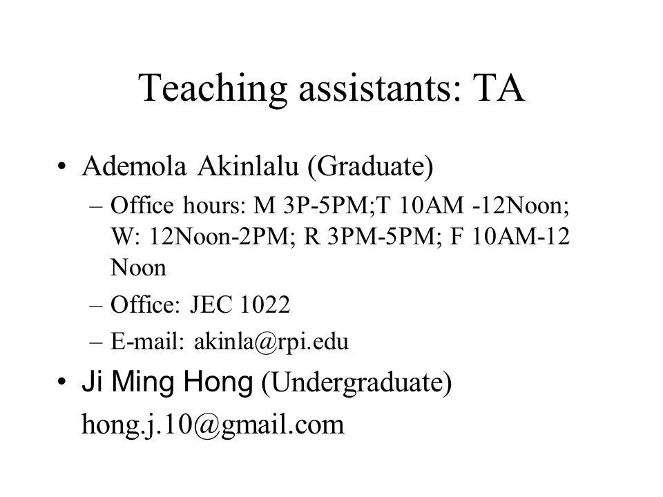 Teaching assistants: TA Ademola Akinlalu (Graduate) –Office hours: M 3P-5PM;T 10AM -12Noon; W: 12Noon-2PM; R 3PM-5PM; F 10AM-12 Noon –Office: JEC 1022