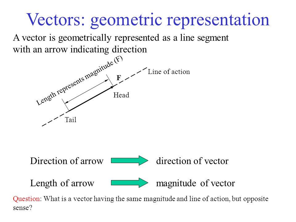 Vectors: geometric representation Direction of arrowdirection of vector Length of arrowmagnitude of vector Line of action Head Tail Length represents