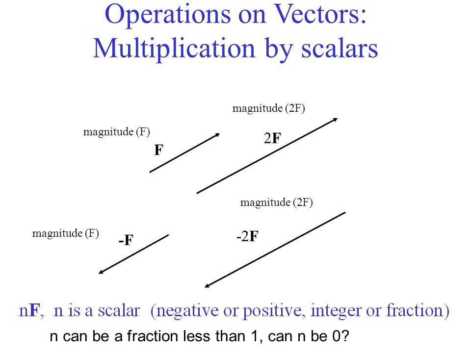 magnitude (F) magnitude (2F) magnitude (F) magnitude (2F) n can be a fraction less than 1, can n be 0? F 2F2F -F -2F Operations on Vectors: Multiplica