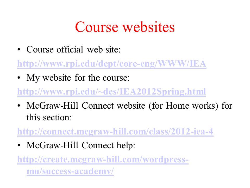 Course websites Course official web site: http://www.rpi.edu/dept/core-eng/WWW/IEA My website for the course: http://www.rpi.edu/~des/IEA2012Spring.ht