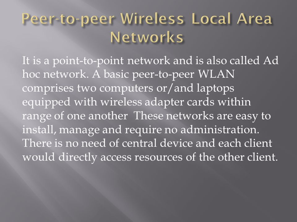 It is a point-to-point network and is also called Ad hoc network. A basic peer-to-peer WLAN comprises two computers or/and laptops equipped with wirel