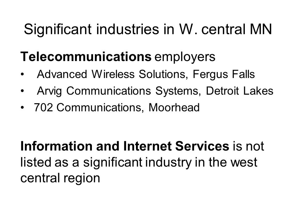 Significant industries in W.