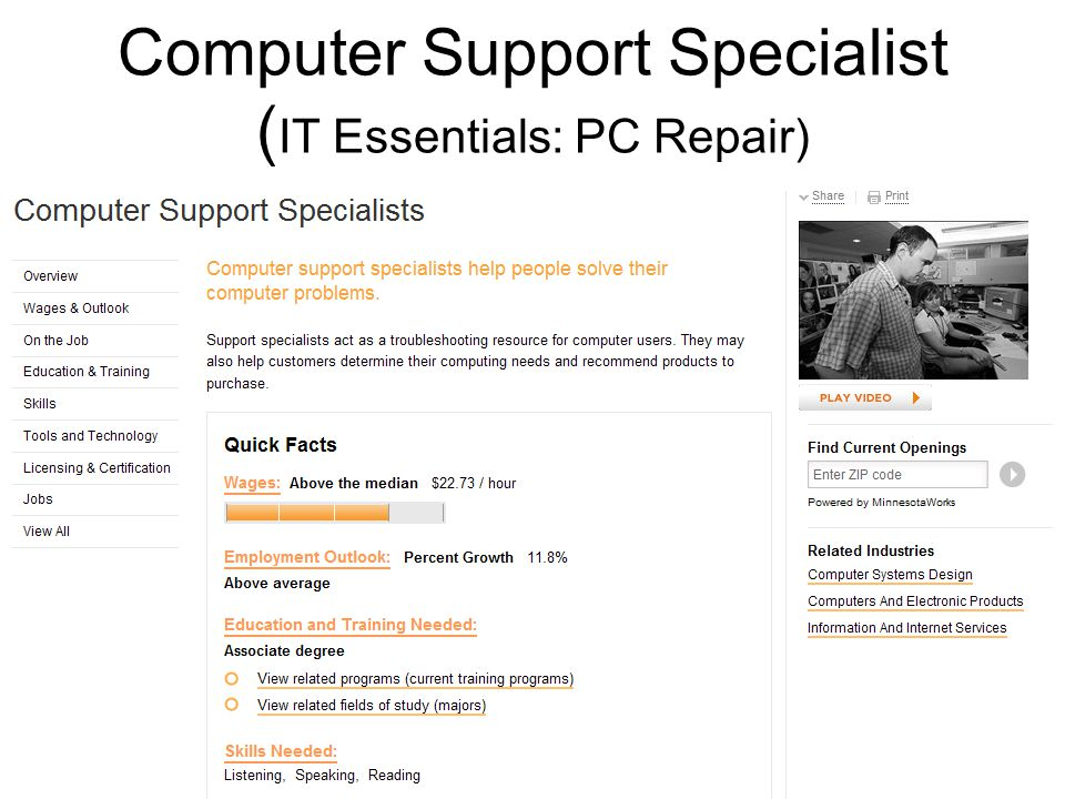Computer Support Specialist ( IT Essentials: PC Repair)