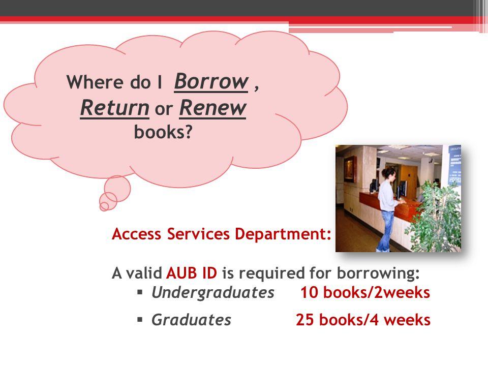 Where do I Borrow, Return or Renew books.