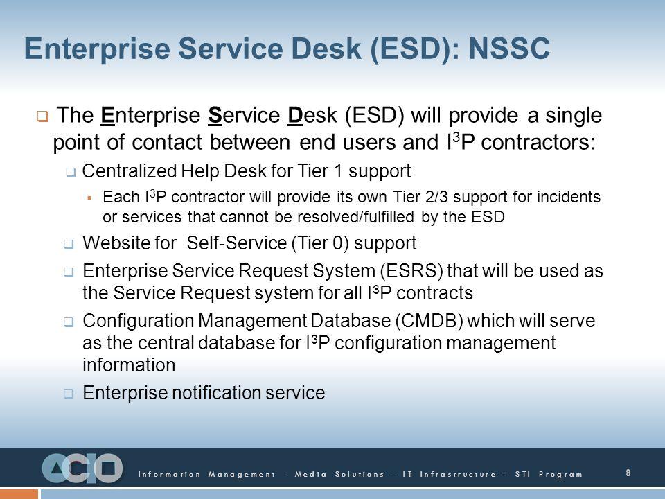 Information Management - Media Solutions - IT Infrastructure - STI Program Enterprise Service Desk (ESD): NSSC The Enterprise Service Desk (ESD) will