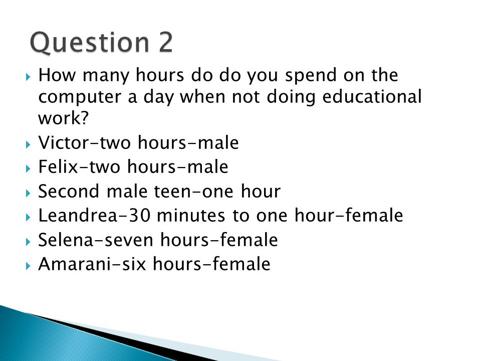 How many hours do do you spend on the computer a day when not doing educational work.