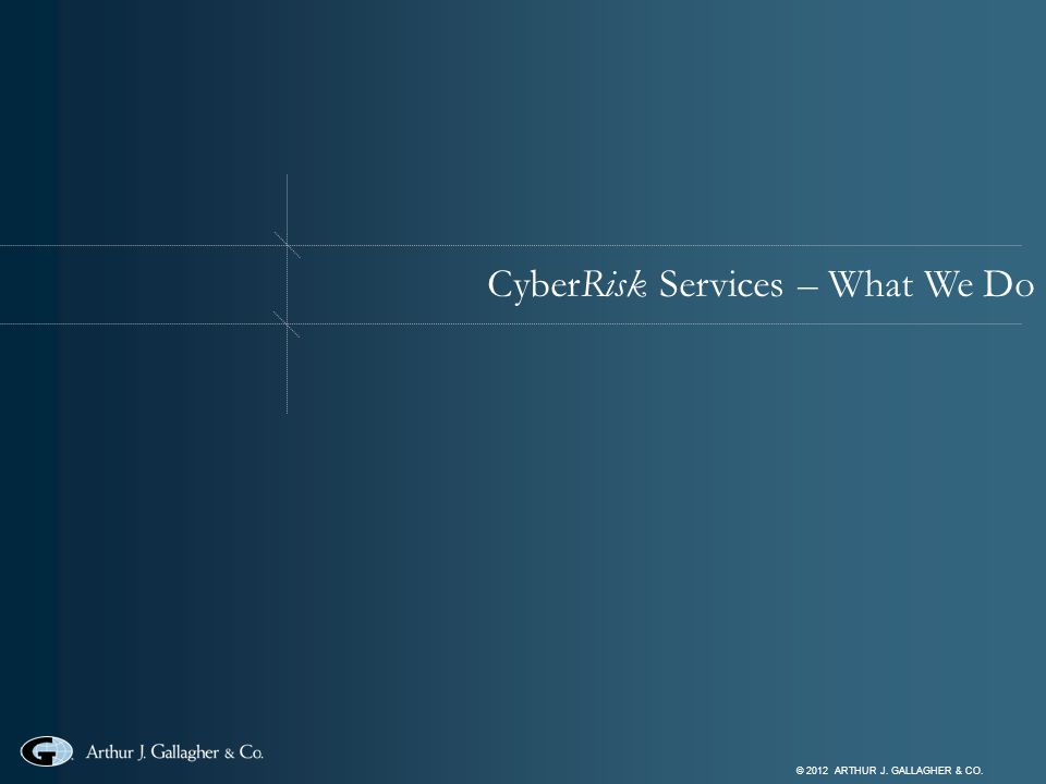 © 2012 ARTHUR J. GALLAGHER & CO. CyberRisk Services – What We Do