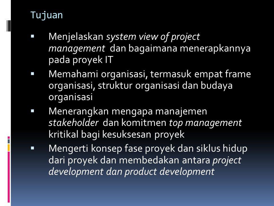 Tujuan Menjelaskan system view of project management dan bagaimana menerapkannya pada proyek IT Memahami organisasi, termasuk empat frame organisasi,