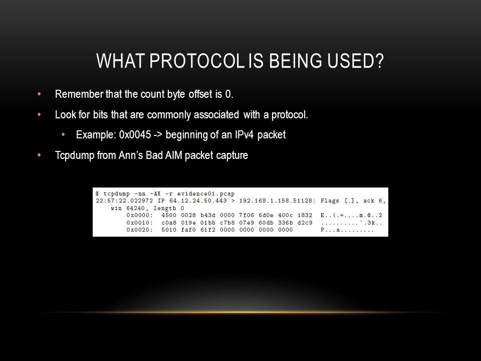 WHAT PROTOCOL IS BEING USED.Remember that the count byte offset is 0.