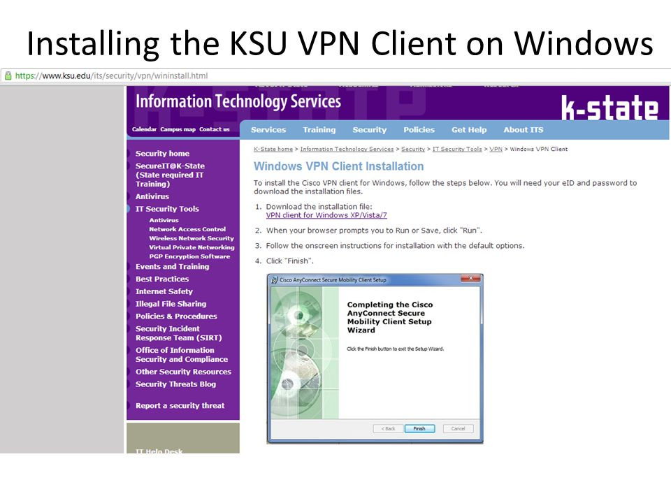 Installing the KSU VPN Client on Windows