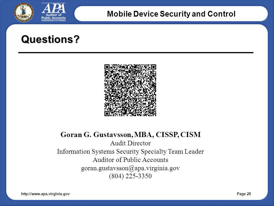 Mobile Device Security and Control Questions. http://www.apa.virginia.gov Goran G.