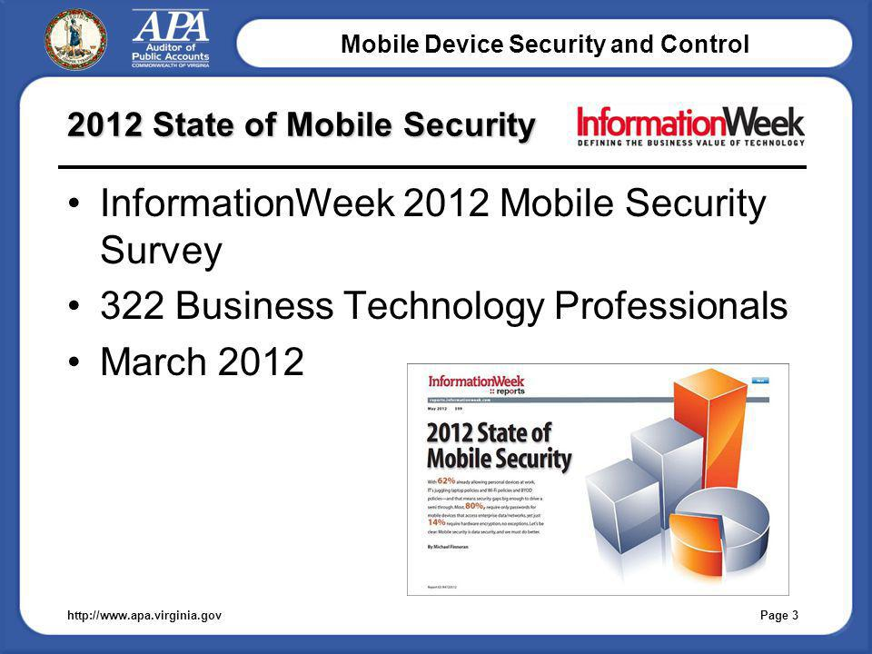 Mobile Device Security and Control 2012 State of Mobile Security http://www.apa.virginia.gov InformationWeek 2012 Mobile Security Survey 322 Business Technology Professionals March 2012 Page 3