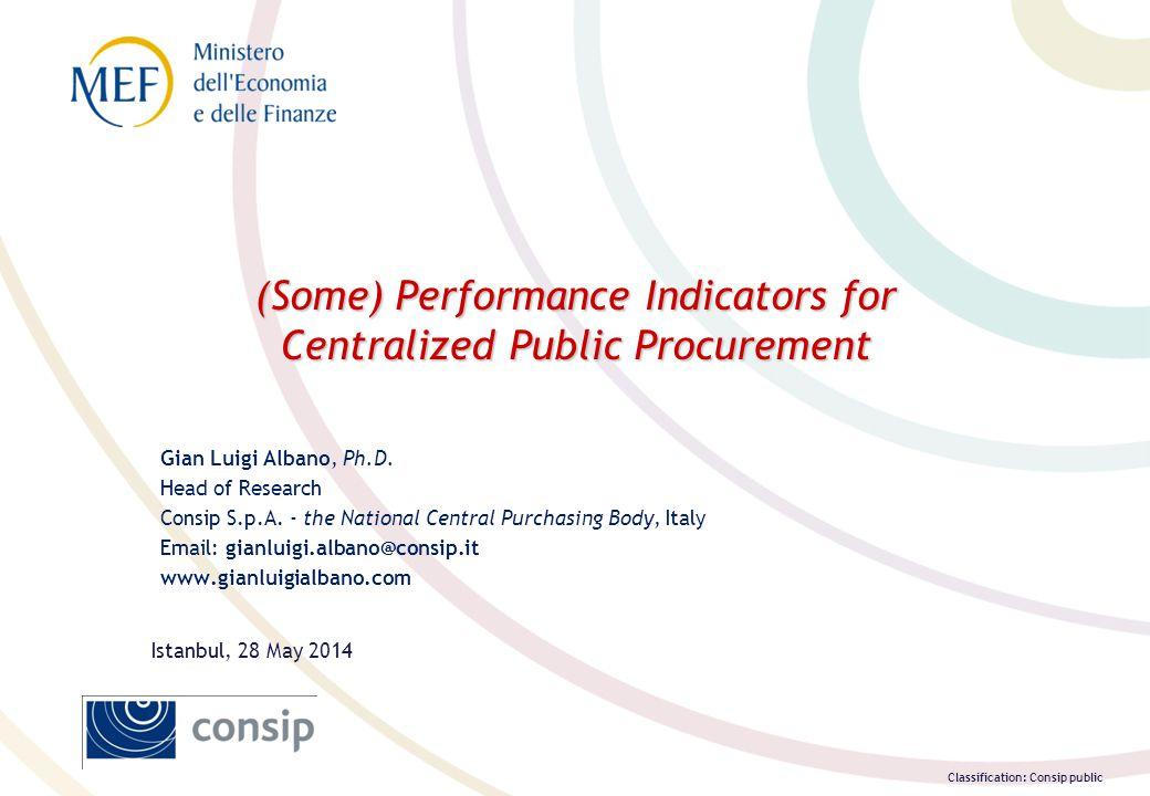 Classification: Consip public (Some) Performance Indicators for Centralized Public Procurement Gian Luigi Albano, Ph.D.
