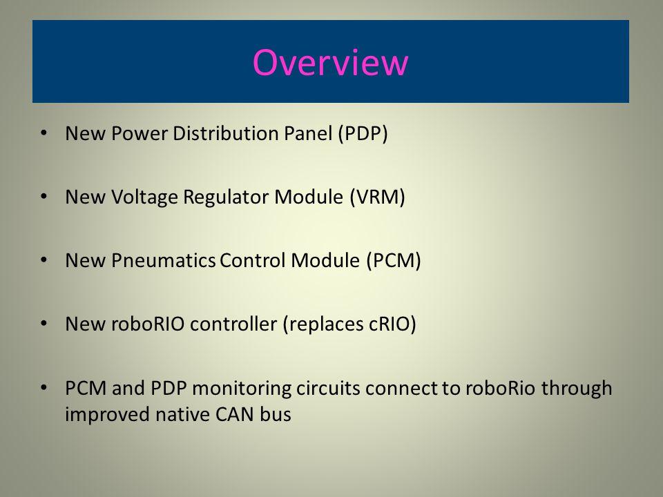Overview New Power Distribution Panel (PDP) New Voltage Regulator Module (VRM) New Pneumatics Control Module (PCM) New roboRIO controller (replaces cR