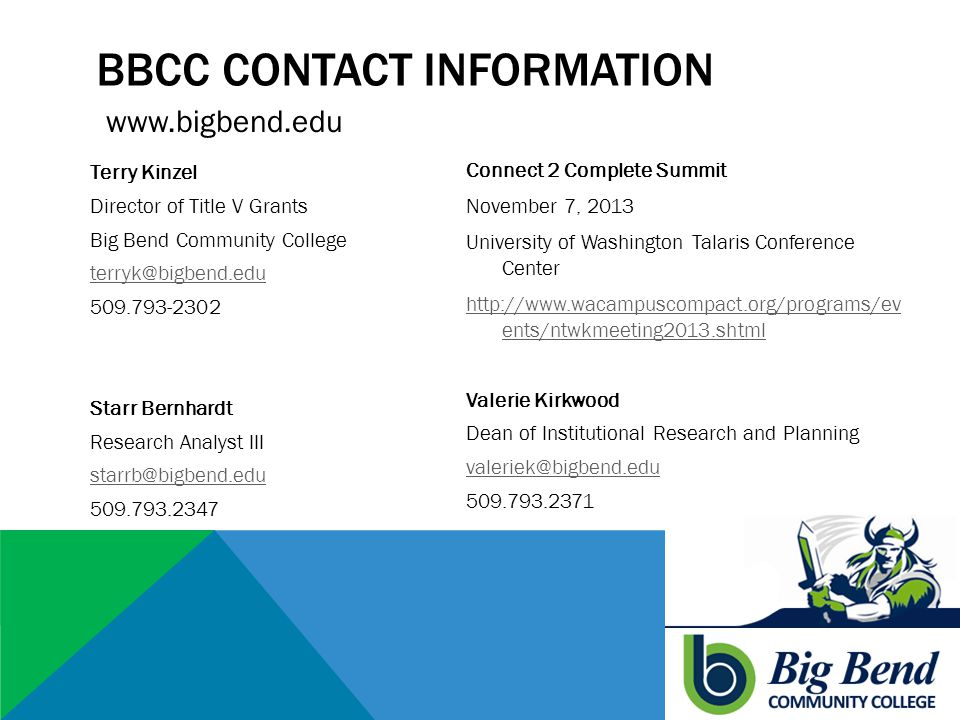 BBCC CONTACT INFORMATION Terry Kinzel Director of Title V Grants Big Bend Community College terryk@bigbend.edu 509.793-2302 Starr Bernhardt Research Analyst III starrb@bigbend.edu 509.793.2347 Connect 2 Complete Summit November 7, 2013 University of Washington Talaris Conference Center http://www.wacampuscompact.org/programs/ev ents/ntwkmeeting2013.shtml Valerie Kirkwood Dean of Institutional Research and Planning valeriek@bigbend.edu 509.793.2371 www.bigbend.edu