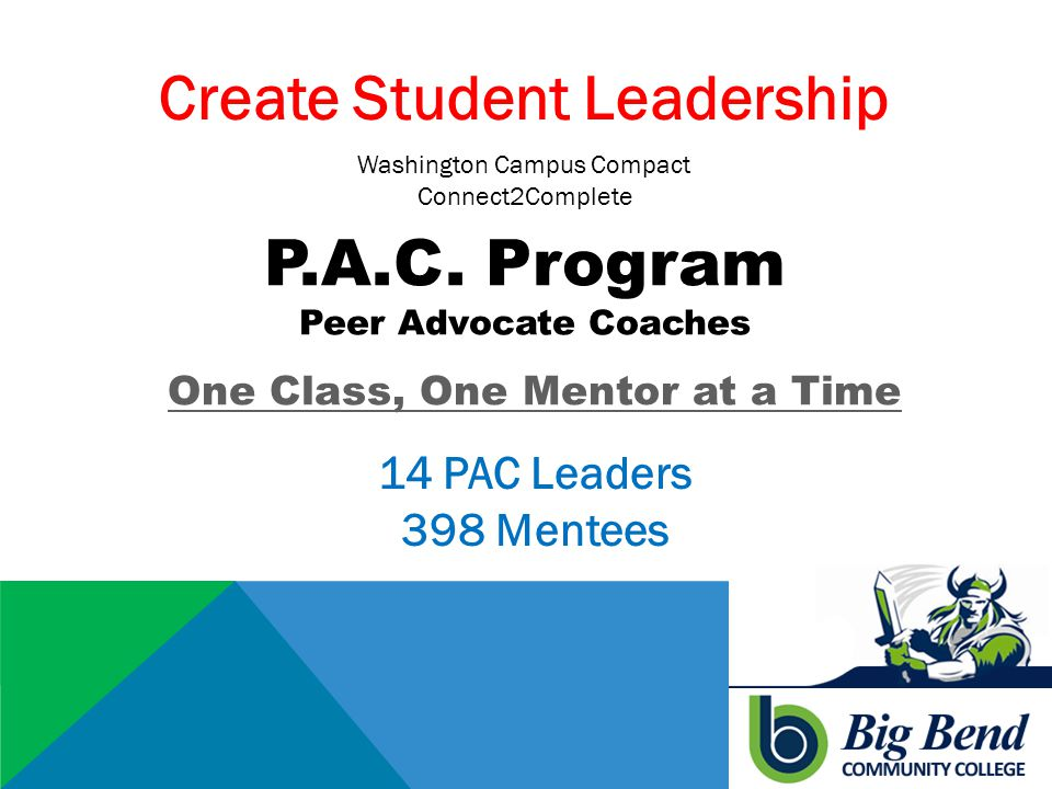 P.A.C. Program Peer Advocate Coaches One Class, One Mentor at a Time Create Student Leadership 14 PAC Leaders 398 Mentees Washington Campus Compact Co