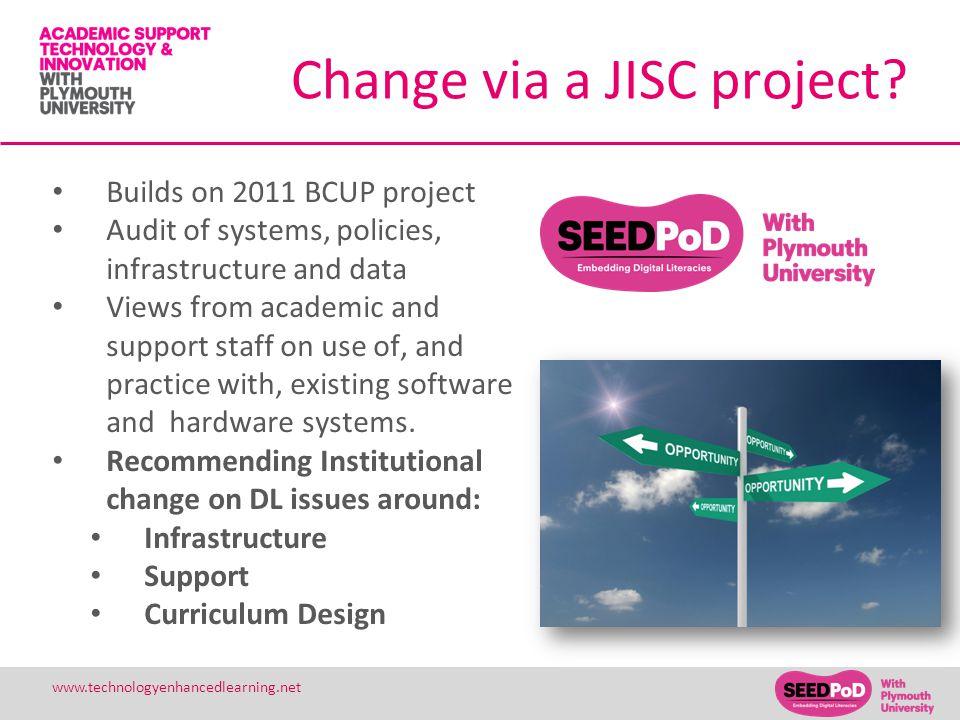Change via a JISC project.