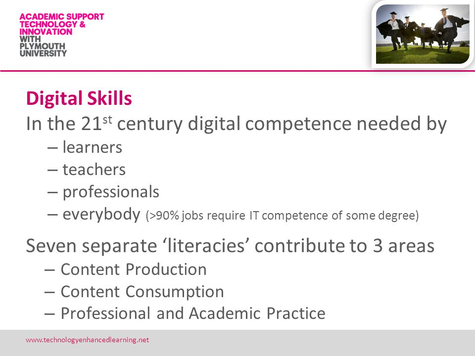 12 www.technologyenhancedlearning.net Digital Skills In the 21 st century digital competence needed by – learners – teachers – professionals – everybo