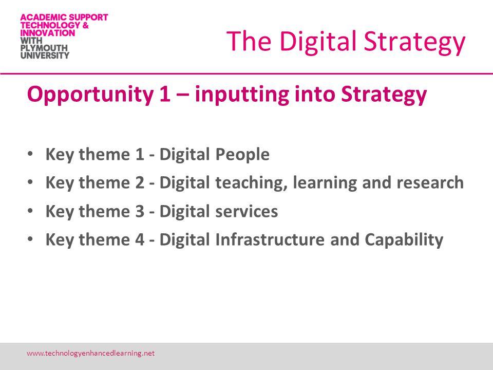 19 www.technologyenhancedlearning.net The Digital Strategy Opportunity 1 – inputting into Strategy Key theme 1 - Digital People Key theme 2 - Digital
