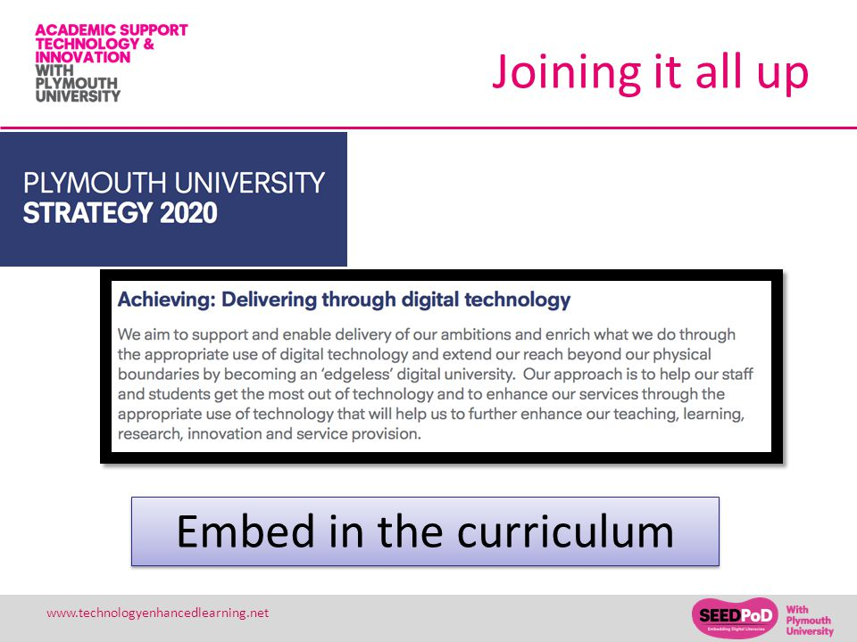 26 www.technologyenhancedlearning.net Joining it all up Embed in the curriculum