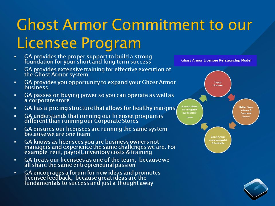 Ghost Armor Commitment to our Licensee Program GA provides the proper support to build a strong foundation for your short and long term success GA provides extensive training for effective execution of the Ghost Armor system GA provides you opportunity to expand your Ghost Armor business GA passes on buying power so you can operate as well as a corporate store GA has a pricing structure that allows for healthy margins GA understands that running our licensee program is different than running our Corporate Stores GA ensures our licensees are running the same system because we are one team GA knows as licensees you are business owners not managers and experience the same challenges we are.