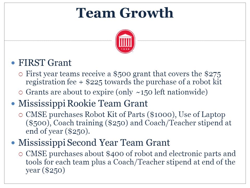 FIRST Grant First year teams receive a $500 grant that covers the $275 registration fee + $225 towards the purchase of a robot kit Grants are about to
