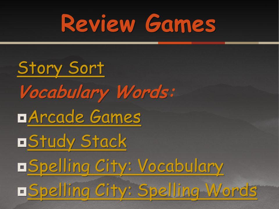 Story Sort Story Sort VocabularyWords Vocabulary Words: Arcade Games Arcade Games Arcade Games Arcade Games Study Stack Study Stack Study Stack Study