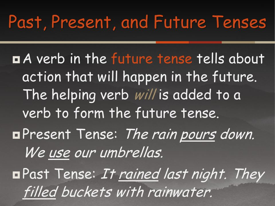 A verb in the future tense tells about action that will happen in the future. The helping verb will is added to a verb to form the future tense. Prese