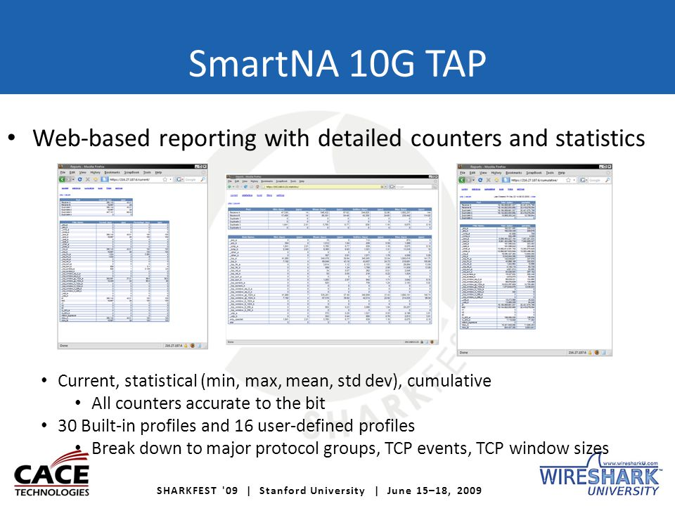 SHARKFEST '09 | Stanford University | June 15–18, 2009 SmartNA 10G TAP Web-based reporting with detailed counters and statistics Current, statistical