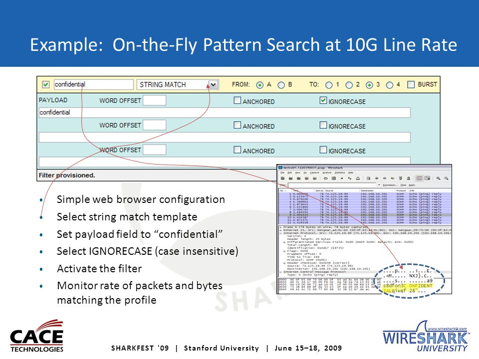 SHARKFEST 09 | Stanford University | June 15–18, 2009 Example: On-the-Fly Pattern Search at 10G Line Rate Simple web browser configuration Select string match template Set payload field to confidential Select IGNORECASE (case insensitive) Activate the filter Monitor rate of packets and bytes matching the profile