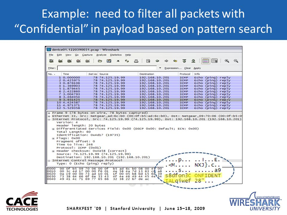 SHARKFEST 09 | Stanford University | June 15–18, 2009 Example: need to filter all packets with Confidential in payload based on pattern search