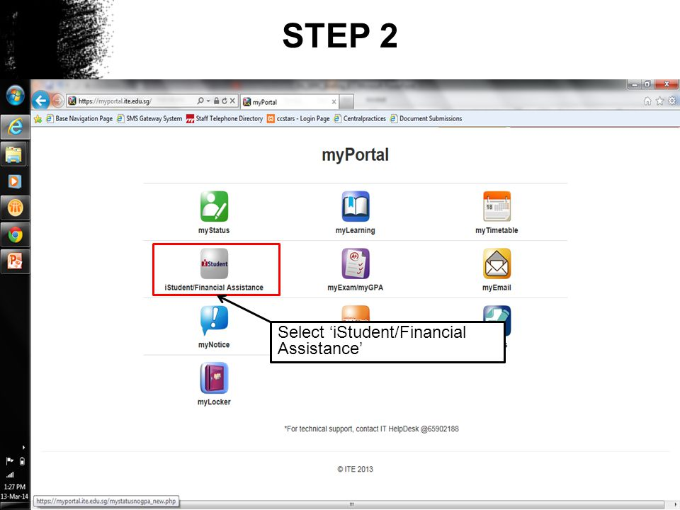 STEP 2 Select iStudent/Financial Assistance