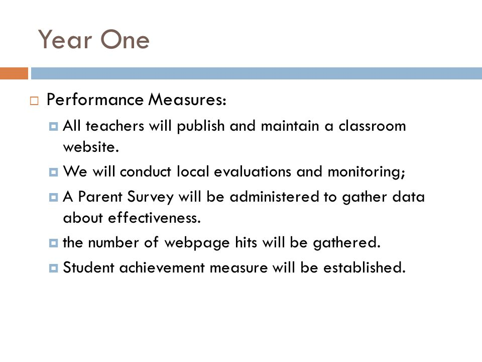 Year One Performance Measures: All teachers will publish and maintain a classroom website.