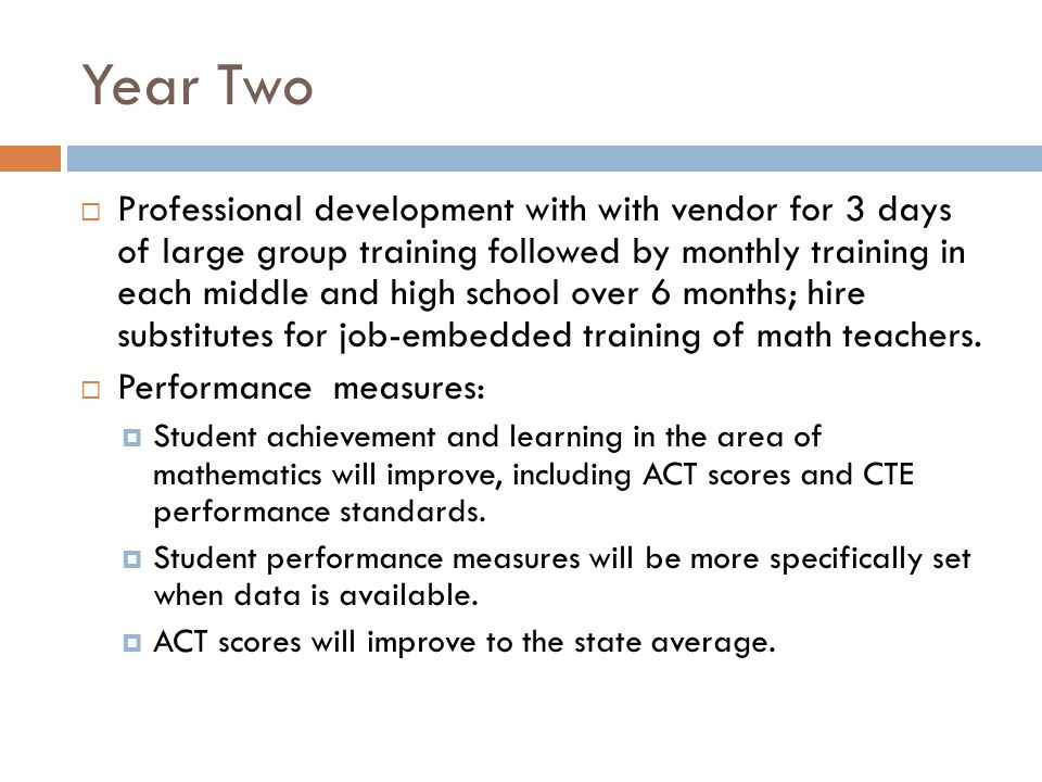 Year Two Professional development with with vendor for 3 days of large group training followed by monthly training in each middle and high school over 6 months; hire substitutes for job-embedded training of math teachers.