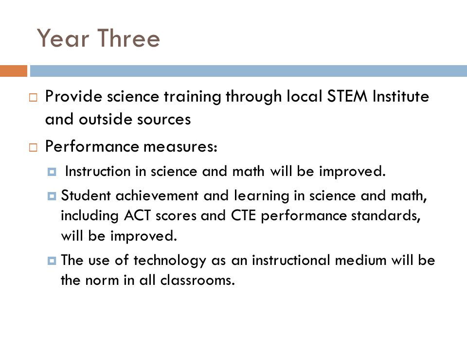 Year Three Provide science training through local STEM Institute and outside sources Performance measures: Instruction in science and math will be improved.