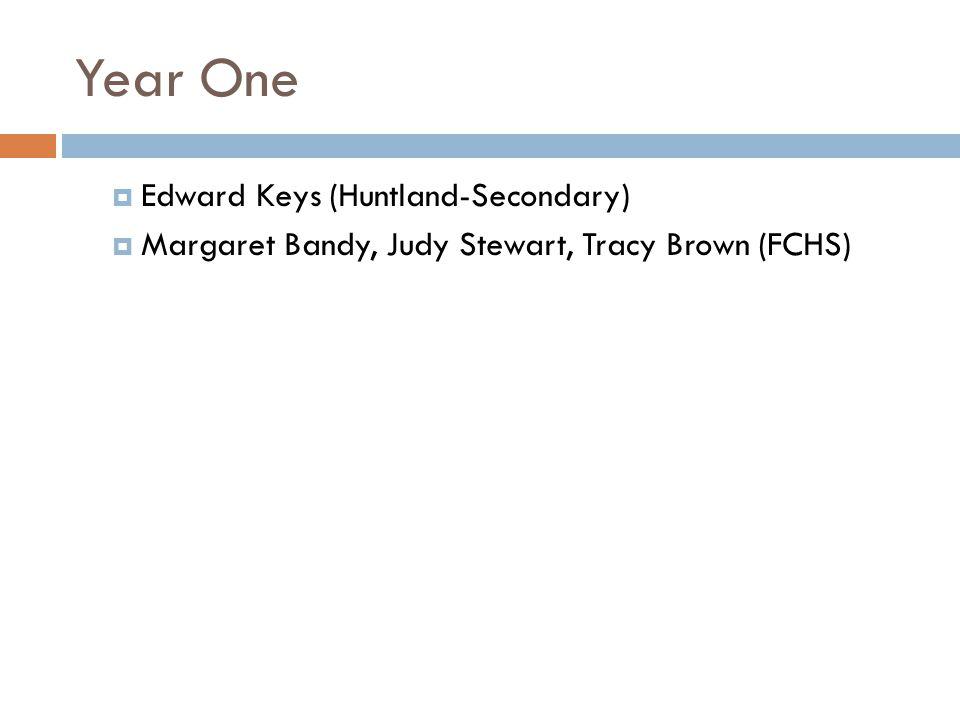 Year One Edward Keys (Huntland-Secondary) Margaret Bandy, Judy Stewart, Tracy Brown (FCHS)