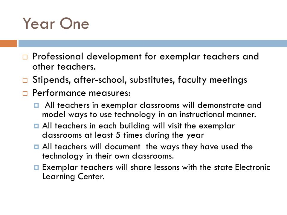 Year One Professional development for exemplar teachers and other teachers.