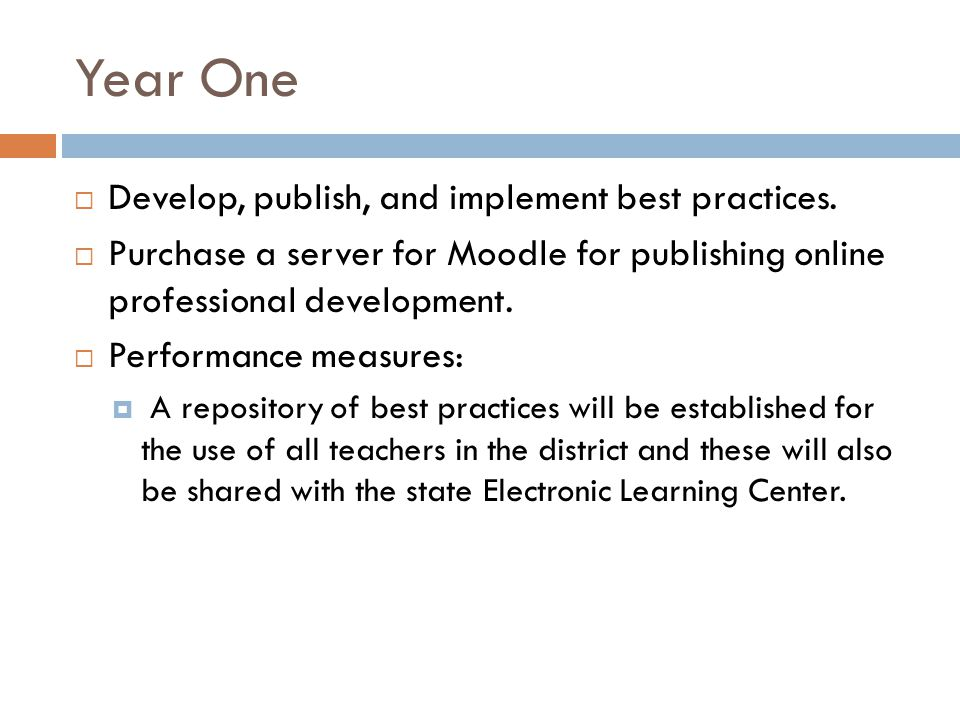 Year One Develop, publish, and implement best practices.