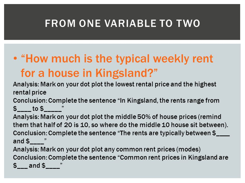 FROM ONE VARIABLE TO TWO How much is the typical weekly rent for a house in Kingsland? Analysis: Mark on your dot plot the lowest rental price and the