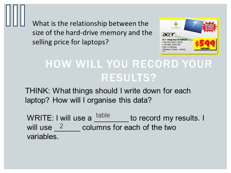 HOW WILL YOU RECORD YOUR RESULTS? What is the relationship between the size of the hard-drive memory and the selling price for laptops? THINK: What th