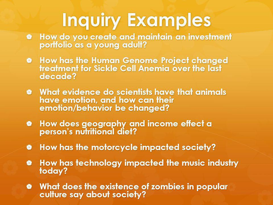 Inquiry Examples How do you create and maintain an investment portfolio as a young adult.