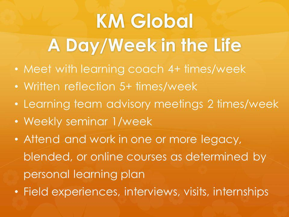 KM Global A Day/Week in the Life Meet with learning coach 4+ times/week Written reflection 5+ times/week Learning team advisory meetings 2 times/week Weekly seminar 1/week Attend and work in one or more legacy, blended, or online courses as determined by personal learning plan Field experiences, interviews, visits, internships