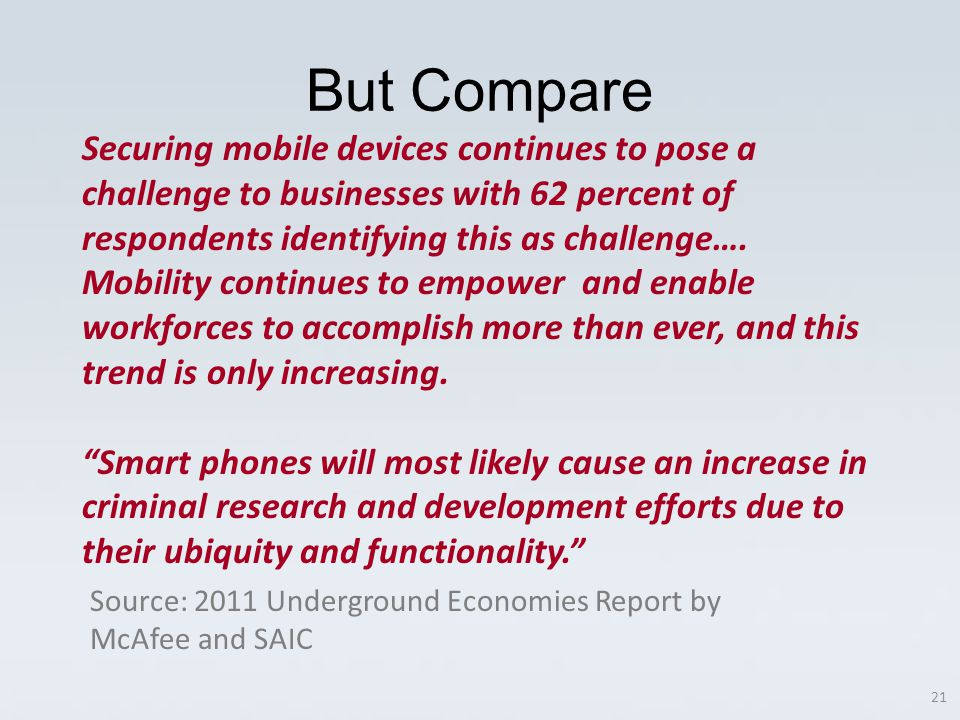 Securing mobile devices continues to pose a challenge to businesses with 62 percent of respondents identifying this as challenge….