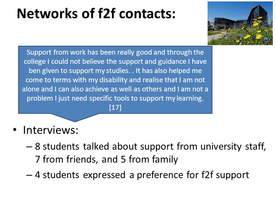 Networks of f2f contacts: Interviews: – 8 students talked about support from university staff, 7 from friends, and 5 from family – 4 students expressed a preference for f2f support Support from work has been really good and through the college I could not believe the support and guidance I have ben given to support my studies..
