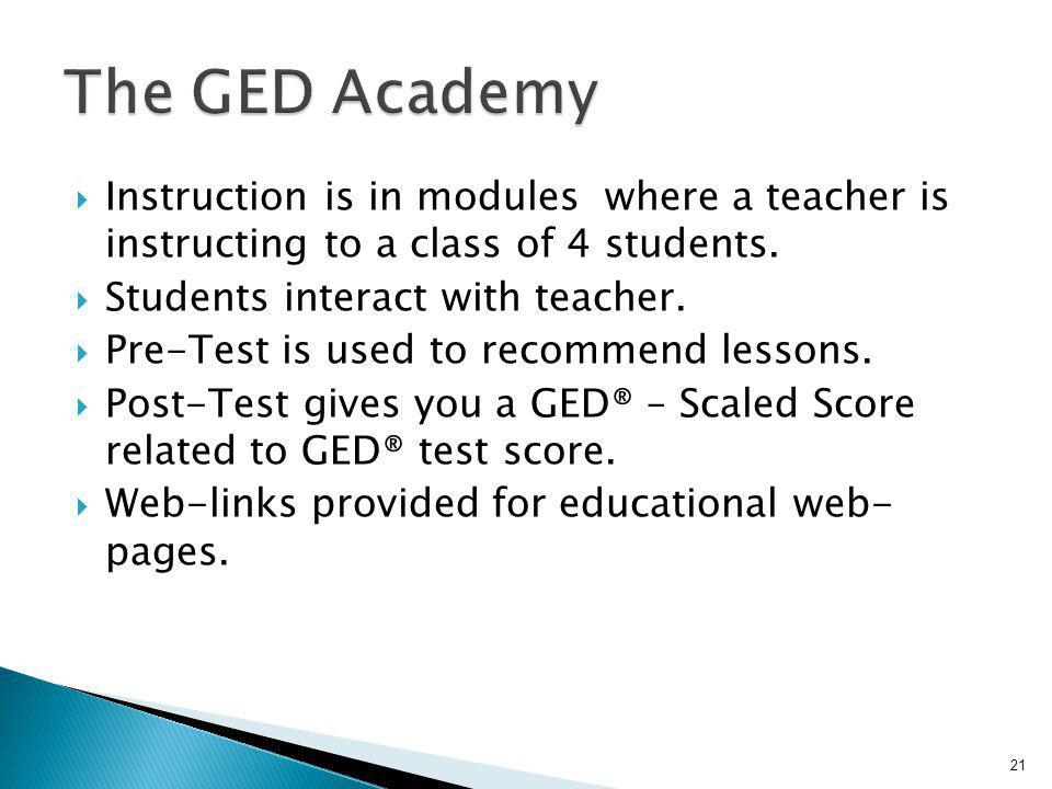 Instruction is in modules where a teacher is instructing to a class of 4 students. Students interact with teacher. Pre-Test is used to recommend lesso