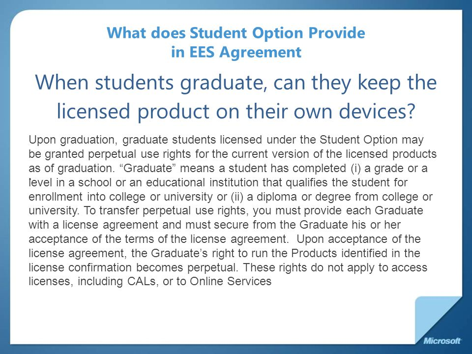 What does Student Option Provide in EES Agreement When students graduate, can they keep the licensed product on their own devices?.