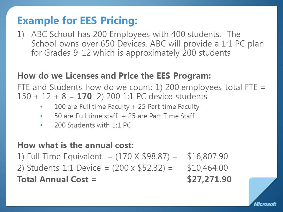 Example for EES Pricing: 1)ABC School has 200 Employees with 400 students.