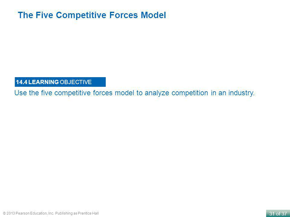 31 of 37 © 2013 Pearson Education, Inc. Publishing as Prentice Hall Use the five competitive forces model to analyze competition in an industry. 14.4